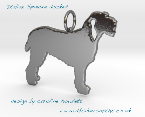 Spinone docked  pendant necklace sterling silver handmade